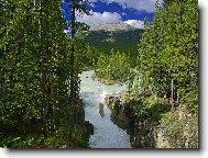 """Оригинал схемы вышивки  """"Горная река """".  Горная река, река, горы, вода, деревья, небо."""