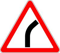 Дорожный знак: 1.11.1 Опасный поворот