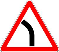 Дорожный знак: 1.11.2 Опасный поворот