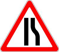 Дорожный знак: 1.20.2 Сужение дороги