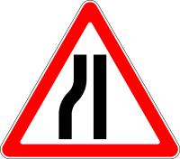 Дорожный знак: 1.20.3 Сужение дороги
