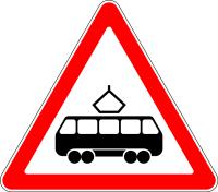 Дорожный знак: 1.5 Пересечение с трамвайной линией
