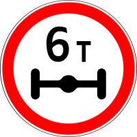 Дорожный знак: 3.12 Ограничение нагрузки на ось