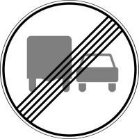 Дорожный знак: 3.23 Конец зоны запрещения обгона грузовым автомобилям