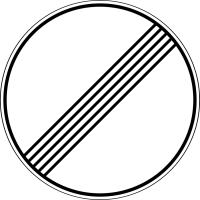 Дорожный знак: 3.31 Конец зоны всех ограничений