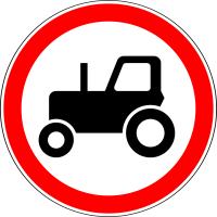 Дорожный знак: 3.6 Движение тракторов запрещено