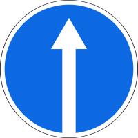 Дорожный знак: 4.1.1 Движение прямо