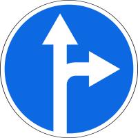 Дорожный знак: 4.1.4 Движение прямо или направо