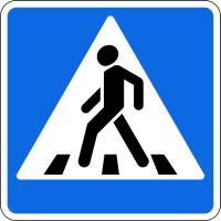 Дорожный знак: 5.19.1 Пешеходный переход