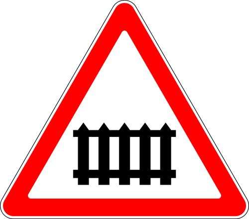 Дорожный знак: 1.1 Железнодорожный переезд со шлагбаумом