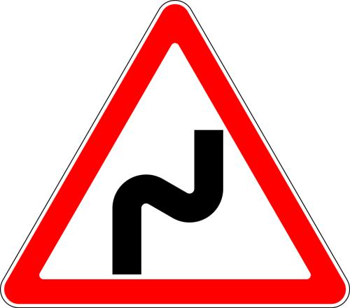Дорожный знак: 1.12.1 Опасные повороты