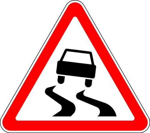 Дорожный знак: 1.15 Скользкая дорога