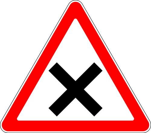 Дорожный знак: 1.6 Пересечение равнозначных дорог